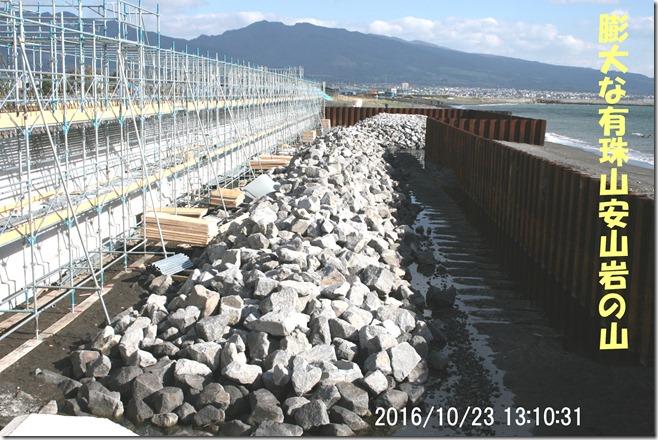 大量の有珠山の安山岩