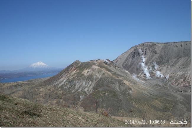 羊蹄山、洞爺湖中島、有珠山・昭和新山、渡島駒ケ岳は、一直線上に並ぶ火山